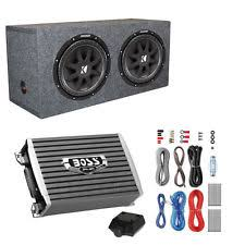 kicker enclosed powered car subwoofer kicker 600 watt 12 subwoofers pair sealed box enclosure amp wiring kit