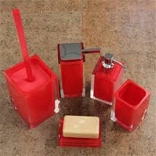 Spectacular Red Bathroom Accessories Uk F30X On Simple Interior