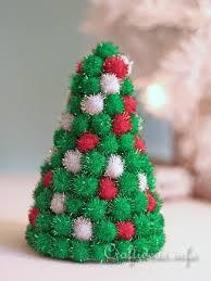 Christmas Craft  Styrofoam Christmas Tree Decorated With Pom PomsFoam Christmas Tree Crafts