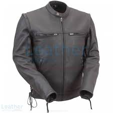 leather moto jacket with zip off sleeves front view