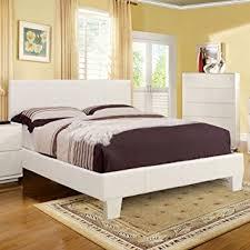 Amazon Winn Contemporary Style White Finish Leatherette Full