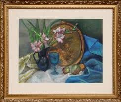 Adela Smith Lintelmann, Still Life with Flowers and Copper Platter, Pastel  Drawing