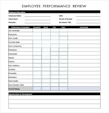 Performance Appraisal Sample Form Employee Performance Evaluation Template Employee Evaluation