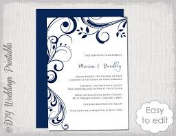 navy wedding invitation template scroll printable invitations navy blue you edit digital word template jpg instant