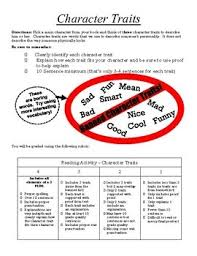 reading activity character trait essay by learning miss brule reading activity character trait essay