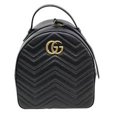 gucci gg black marmont quilted leather backpack