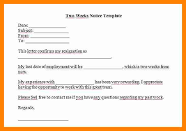 two week notice letter example two weeks notice 07