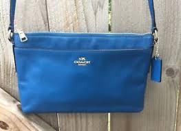 Image is loading COACH-Madison-Leather-East-West-Blue-SWINGPACK-BAG-