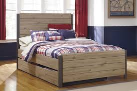 Beige Brown Wood Queen Trundle Bed With Cool Design