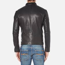 boss orange men s jofynn leather jacket black image 3