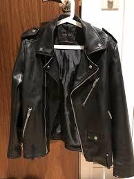 zara mens faux leather biker jacket