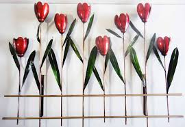 tulip wall art metal