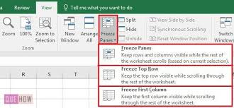 how to freeze rows and columns in ms