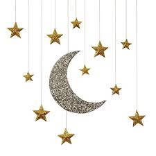 glitter moon stars hanging decorations sam s shower ideas hanging decorations