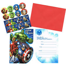 Avengers Party Decorations Avengers Kids Birthday Party Supplies 8 Pack Invitations Set