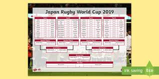 Free Rugby World Cup 2019 Fixtures Wall Chart