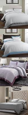 100%LINEN STONE WASH BEDDING SET with Grey Blue Purple Brown border