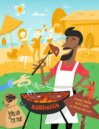 Bbq Poster Bbq Poster In Mid Century Style A Cheerful Man With The Dog