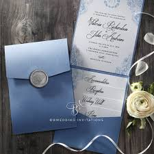 pocket wedding invites trifold pocket invitation in pearlized navy with silver seal de
