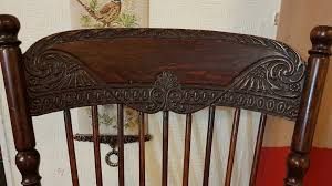 vintage wood chair carved with leather seat in plymouth devon gumtree