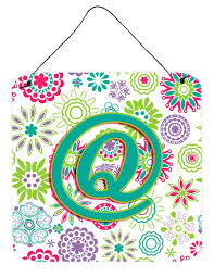 Letter Q Flowers Pink Teal Green Initial Wall or Door Hanging Prints  CJ2011-QDS66