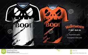 Scary T Shirts Designs Halloween Costume T Shirts Mockup Templates Stock Vector