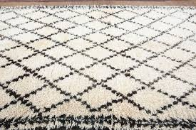 wool moroccan white and black beni ouarain rug for