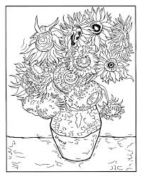 Small Picture Free coloring page coloring adult vincent van gogh 12 tournesols