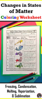 Changes in States of Matter Coloring Worksheet | Matter science ...