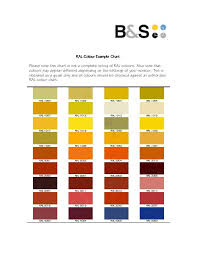 Ral Colour Ral Colour Example Chart Please Note This Chart
