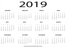 Calendar Year 2019 Printable 2019 Calendars Download Pdf Templates