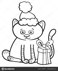Kitten Op Kerstmis Kleurplaten Boek Stockvector Izakowski