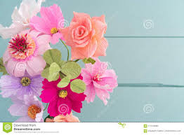 Paper Flower Bouquet In Vase Crepe Paper Flower Bouquet Stock Photo Image Of Handmade