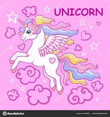 Cartoon Rainbow Unicorn Stars Clouds Pink Background Design Prints