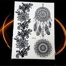 B Top Voděodolné Dočasné Tetování Motiv Mandala 2 černá Glamicz