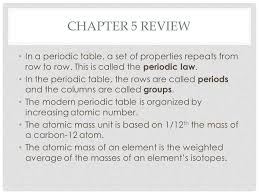 Chapter 5 Review The Periodic Table. - ppt video online download