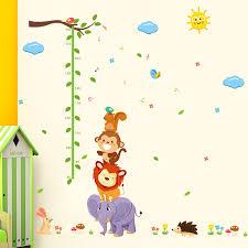 Us 2 07 6 Off Animal Monky Bird Lion Sky Sun Tree Baby Child Height Measure Growth Chart Home Decal Wall Sticker Kid Room Nursery Kindergarten In