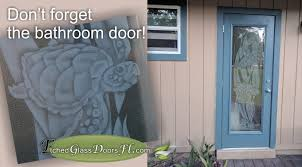 aquatic etched glass designs bathroom door with etched turtle theme