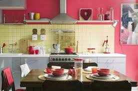Modern kitchen cabinets in pink color Pink wall and pink tableware for  modern kitchen decor in retro style