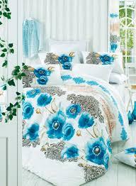 2 piece ranforce quilt duvet cover set eu it cotton white black blue single