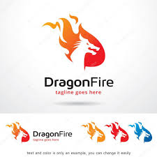 template of a dragon dragon fire logo template design vektor stockvektor