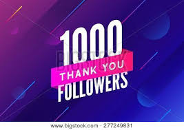 Congratulations Design 1000 Followers Vector Greeting Social Card Thank You