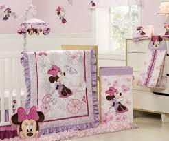 image of purple minnie mouse crib bedding set design