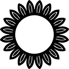 花のイラストフリー素材フレーム枠no32白黒ひまわり