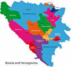 Bosna Hersek Bölgeler ve İller Haritası - OrangeSmile.com