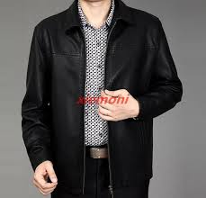 details about mid age men faux leather jacket lapel thin casual trench zip coat peacoat formal