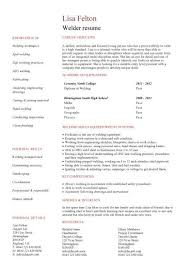 Welder Resume Template Welder Cv Sample Printable