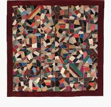 Crazy Quilts - American Antique - Unique Victorian Antique Quilts & Q8771 Victorian Silk Crazy Quilt with Burgundy Velvet Border Adamdwight.com