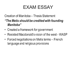 exam essay ppt  exam essay creation of manitoba thesis statement
