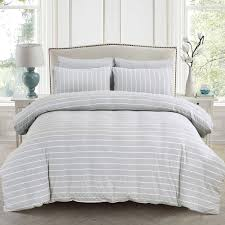 pure era duvet cover set ultra soft heather jersey knit cotton home beddings wide pinstripes mint green king size 1 comforter cover and 2 pillow shams